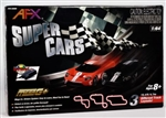 AFX RACEMASTER ... SUPER CARS RACE SET Includes 2-Mega G+ FORD T 15.4' TRACK